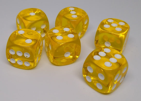 Chessex 23602 Translucent: Yellow/White - 16mm D6 (12 Dice)