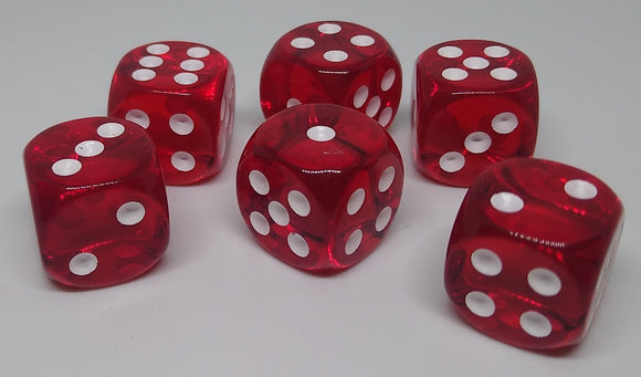 Chessex 23604 Translucent: Red/White - 16mm D6 (12 Dice)