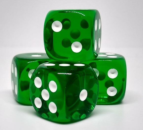 Chessex 23605 Translucent: Green/White - 16mm D6 (12 Dice)