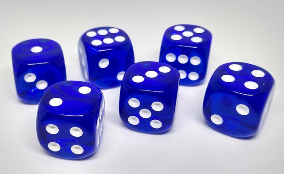 Chessex 23606 Translucent: Blue/White - 16mm D6 (12 Dice)