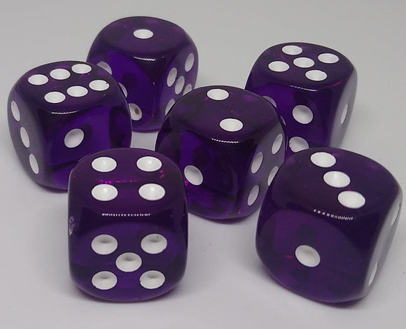 Chessex 23607 Translucent: Purple/White - 16mm D6 (12 Dice)