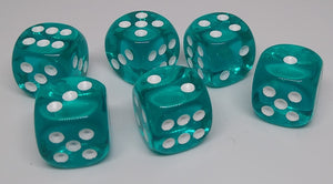 Chessex 23615 Translucent: Teal/White - 16mm D6 (12 Dice)