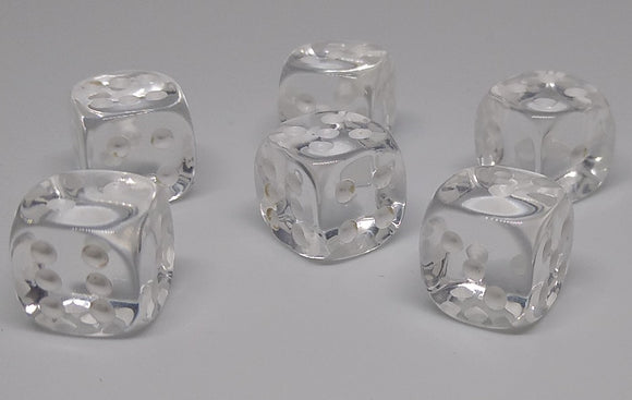 Chessex 23801 Translucent: Clear/White - 12mm D6 (36 Dice)