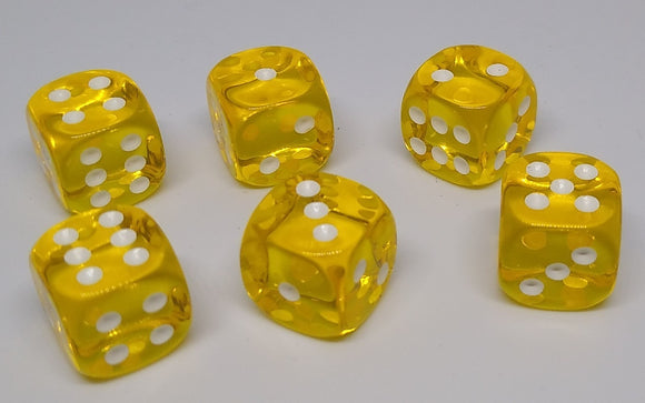 Chessex 23802 Translucent: Yellow/White - 12mm D6 (36 Dice)