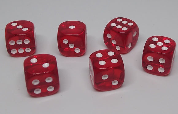 Chessex 23804 Translucent: Red/White - 12mm D6 (36 Dice)