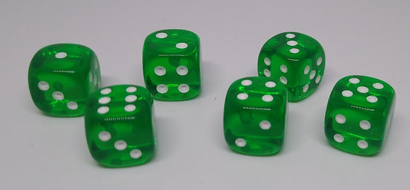 Chessex 23805 Translucent: Green/White - 12mm D6 (36 Dice)