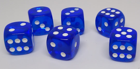 Chessex 23806 Translucent: Blue/White - 12mm D6 (36 Dice)
