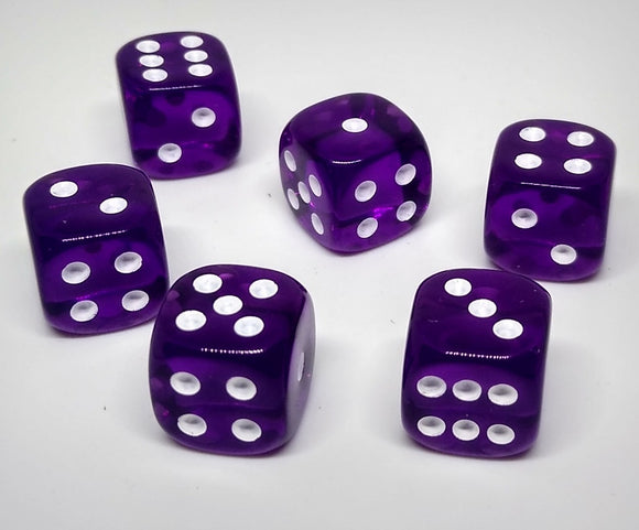 Chessex 23807 Translucent: Purple/White - 12mm D6 (36 Dice)