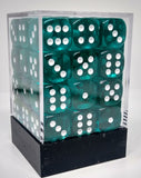 Chessex 23815 Translucent: Teal/White - 12mm D6 (36 Dice)