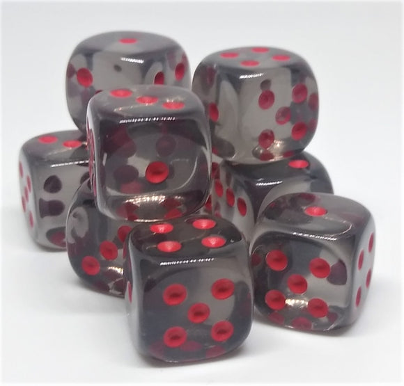Chessex 23818 Translucent: Smoke/Red - 12mm D6 (36 Dice)