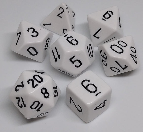Chessex 25401 Opaque: White/Black - Polyhedral (7 Dice)