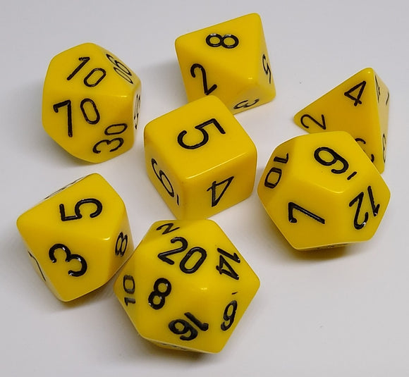 Chessex 25402 Opaque: Yellow/Black - Polyhedral (7 Dice)