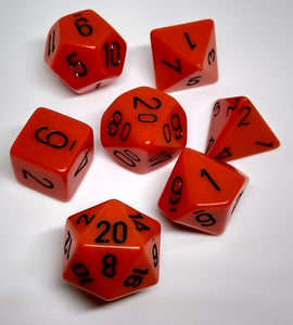 Chessex 25403 Opaque: Orange/Black - Polyhedral (7 Dice)