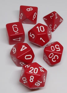 Chessex 25404 Opaque: Red/White - Polyhedral (7 Dice)