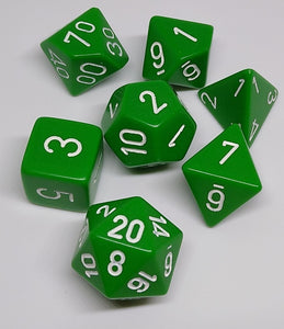 Chessex 25405 Opaque: Green/White - Polyhedral (7 Dice)