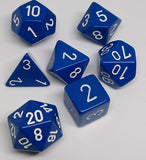 Chessex 25406 Opaque: Blue/White - Polyhedral (7 Dice)