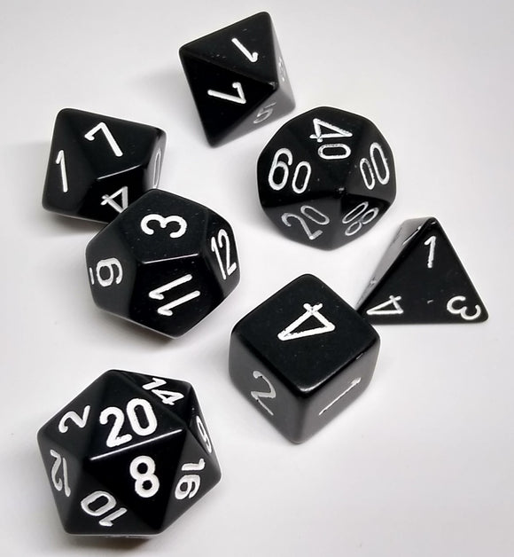 Chessex 25408 Opaque: Black/White - Polyhedral (7 Dice)