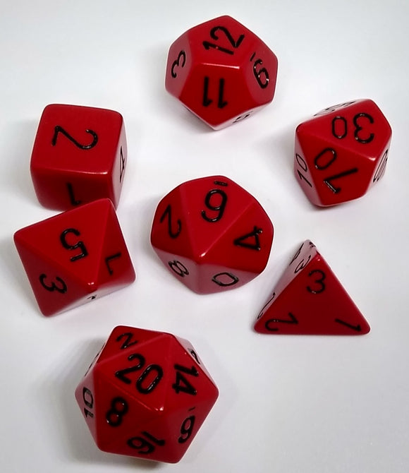 Chessex 25414 Opaque: Red/Black - Polyhedral (7 Dice)