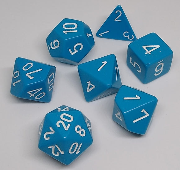 Chessex 25416 Opaque: Light Blue/White - Polyhedral (7 Dice)