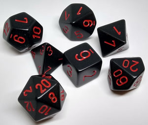 Chessex 25418 Opaque: Black/Red - Polyhedral (7 Dice)