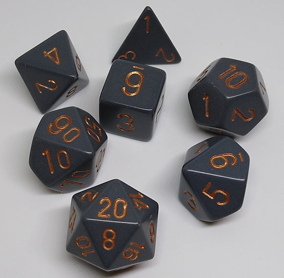 Chessex 25420 Opaque: Dark Grey/Copper - Polyhedral (7 Dice)
