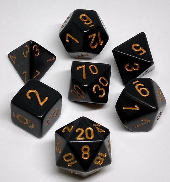 Chessex 25428 Opaque: Black/Gold - Polyhedral (7 Dice)