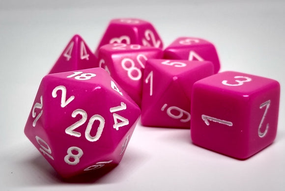 Chessex 25444 Opaque: Pink/White - Polyhedral (7 Dice)