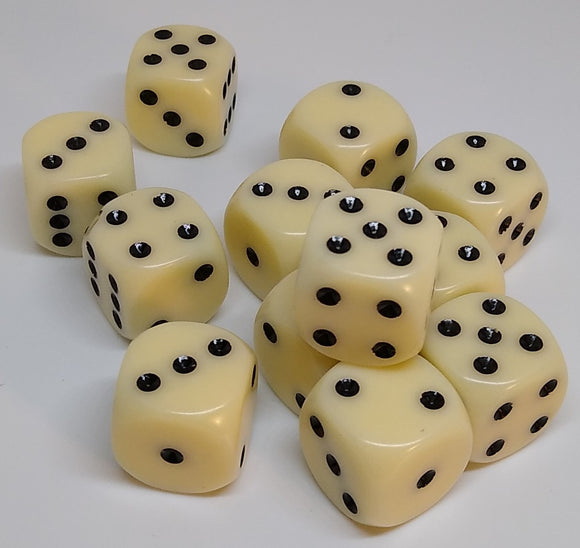 Chessex 25600 Opaque: Ivory/Black - 16mm D6 (12 Dice)