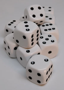 Chessex 25601 Opaque: White/Black - 16mm D6 (12 Dice)
