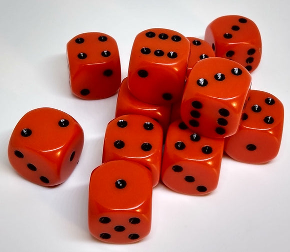 Chessex 25603 Opaque: Orange/Black - 16mm D6 (12 Dice)