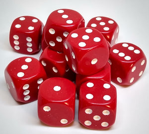 Chessex 25604 Opaque: Red/White - 16mm D6 (12 Dice)