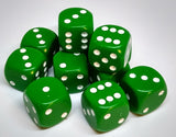 Chessex 25605 Opaque: Green/White - 16mm D6 (12 Dice)