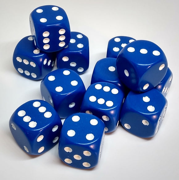 Chessex 25606 Opaque: Blue/White - 16mm D6 (12 Dice)