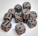 Chessex 25610 Opaque: Dark Grey/Black - 16mm D6 (12 Dice)