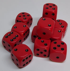 Chessex 25614 Opaque: Red/Black - 16mm D6 (12 Dice)