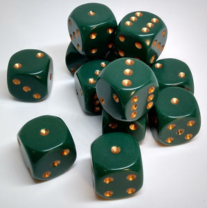 Chessex 25615 Opaque: Dusty Green/Copper - 16mm D6 (12 Dice)