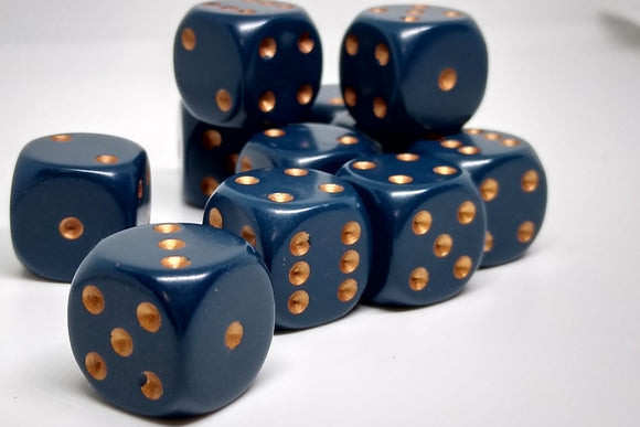Chessex 25626 Opaque: Dusty Blue/Copper - 16mm D6 (12 Dice)