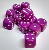 Chessex 25627 Opaque: Lt Purple/White - 16mm D6 (12 Dice)