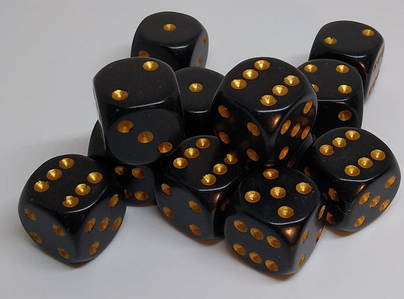 Chessex 25628 Opaque: Black/Gold - 16mm D6 (12 Dice)