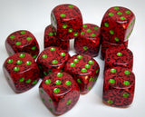 Chessex 25704 Speckled: Strawberry - 16mm D6 (12 Dice)