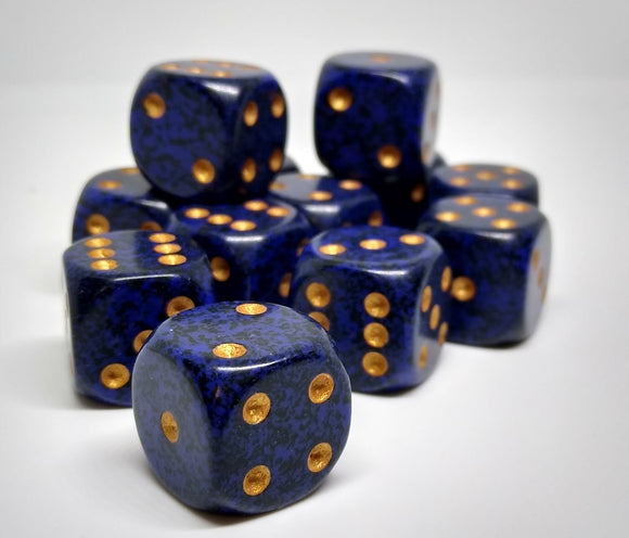Chessex 25737 Speckled: Golden Cobalt - 16mm D6 (12 Dice)