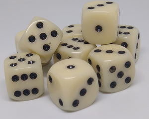 Chessex 25800 Opaque: Ivory/Black - 12mm D6 (36 Dice)