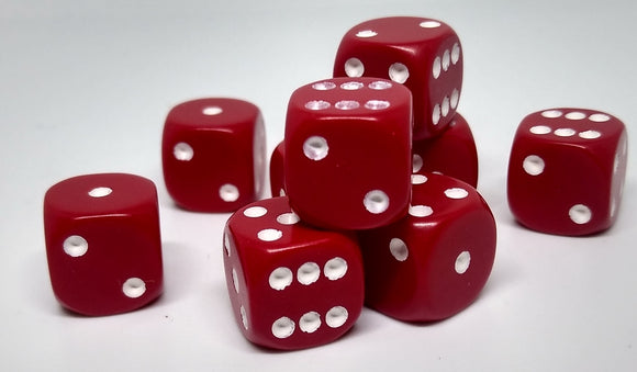 Chessex 25804 Opaque: Red/White - 12mm D6 (36 Dice)