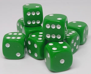 Chessex 25805 Opaque: Green/White - 12mm D6 (36 Dice)