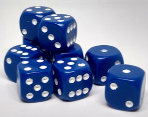 Chessex 25806 Opaque: Blue/White - 12mm D6 (36 Dice)
