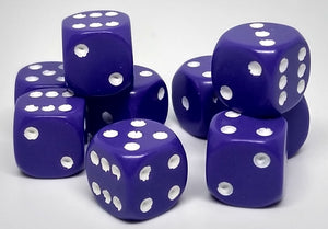 Chessex 25807 Opaque: Purple/White - 12mm D6 (36 Dice)
