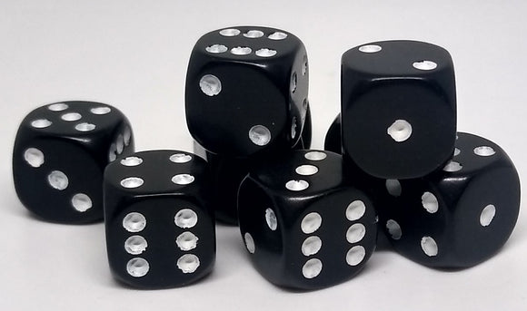 Chessex 25808 Opaque: Black/White - 12mm D6 (36 Dice)