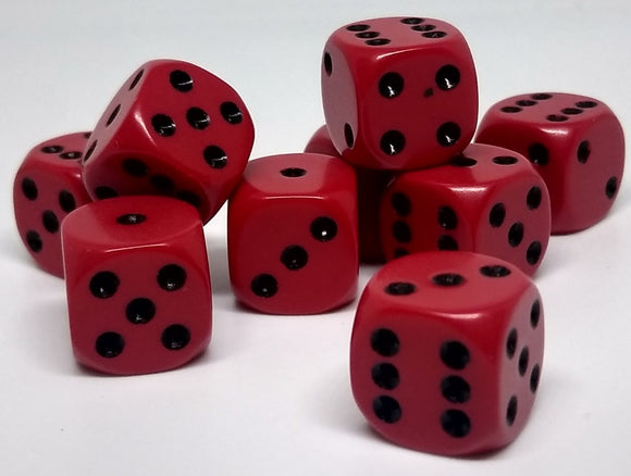 Chessex 25814 Opaque: Red/Black - 12mm D6 (36 Dice)