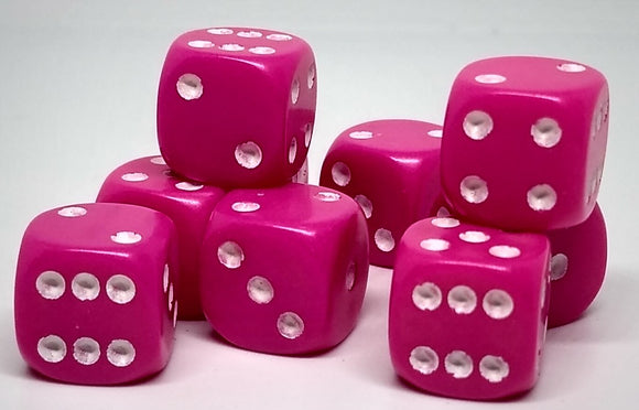 Chessex 25844 Opaque: Pink/White - 12mm D6 (36 Dice)