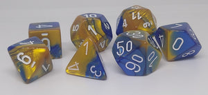 Chessex 26422 Gemini: Blue-Gold/White - Polyhedral (7 Dice)